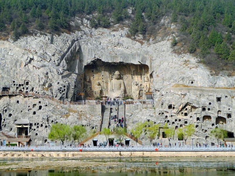 菩萨在longmen洞穴 库存图片