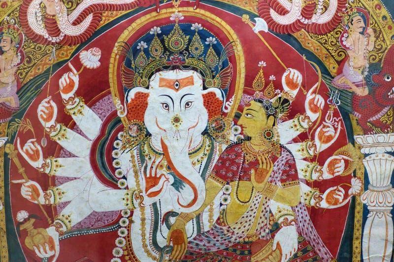 古老著名尼泊尔绘画在王宫在勒利德布尔,尼泊尔 库存图片