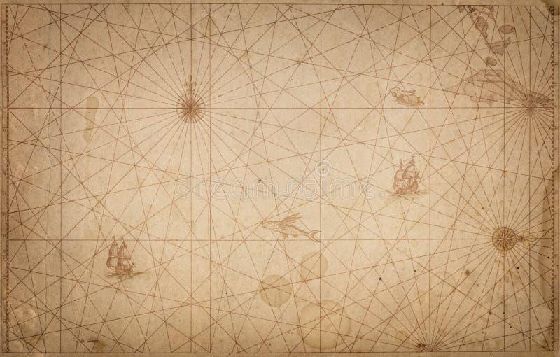 古老葡萄酒地图背景 减速火箭的样式 科学,教育, 库存照片