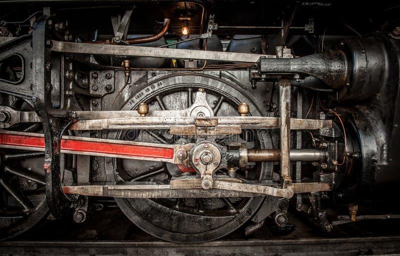 古老蒸汽火车轮子 库存图片