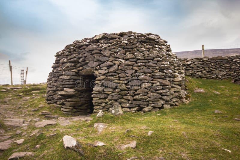 古老蜂箱小屋爱尔兰 免版税库存照片