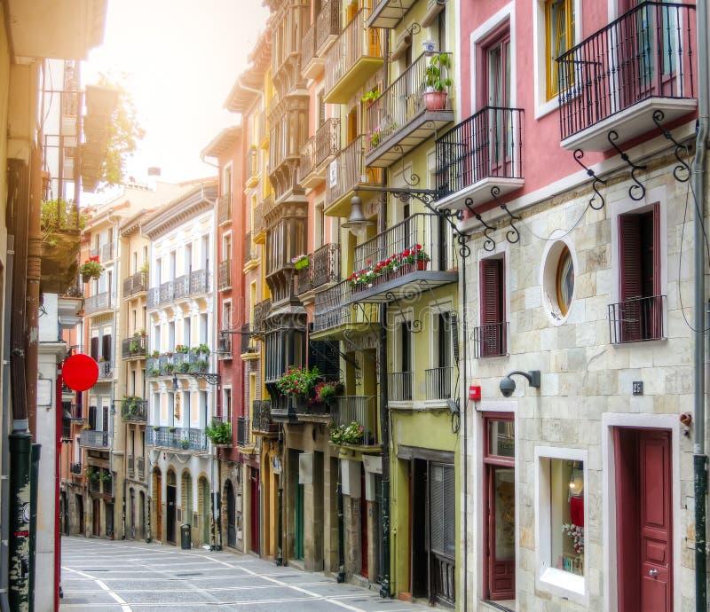 古老街道 潘普洛纳,纳瓦拉,西班牙 免版税库存图片