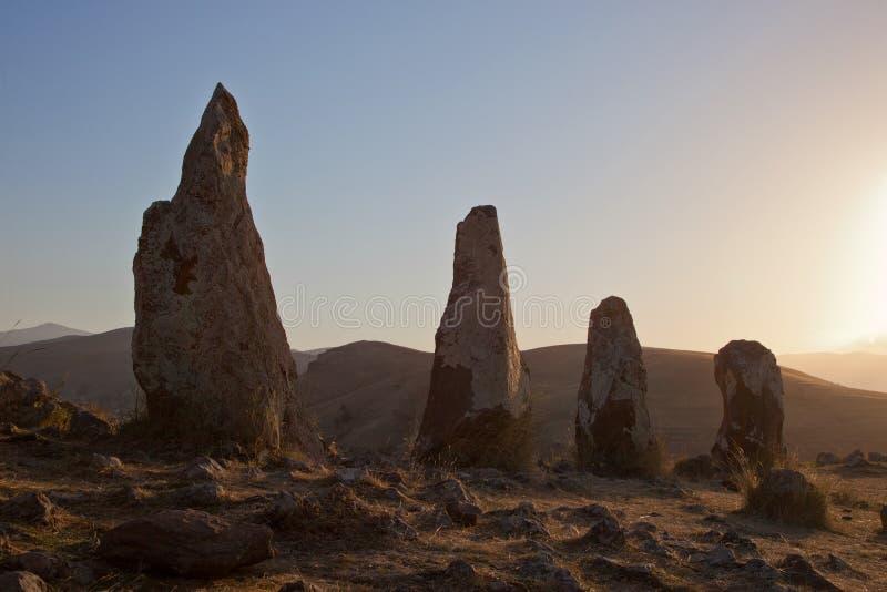 古老观测所Karahunj在亚美尼亚 免版税库存照片