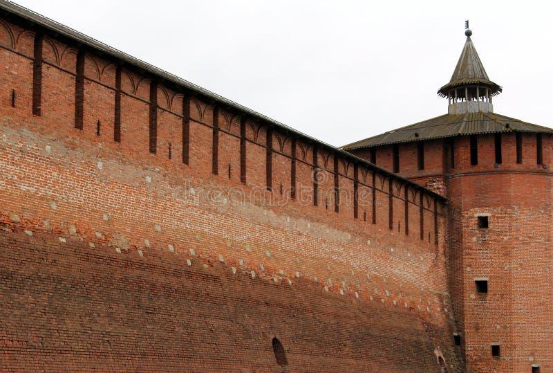 古老设防墙壁在Kolomna,俄罗斯 库存照片