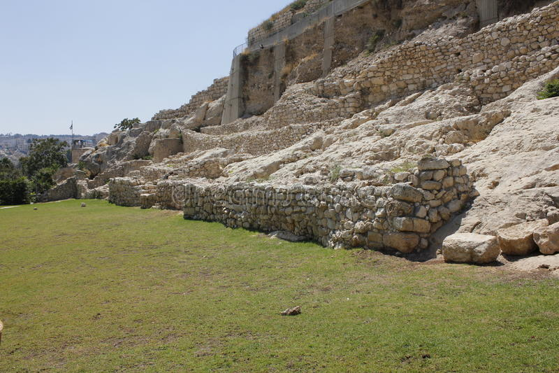 古老迦南城市大卫墙壁 免版税库存图片