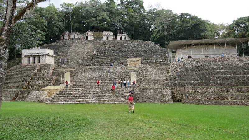 古老金字塔在Bonampak,墨西哥 库存照片