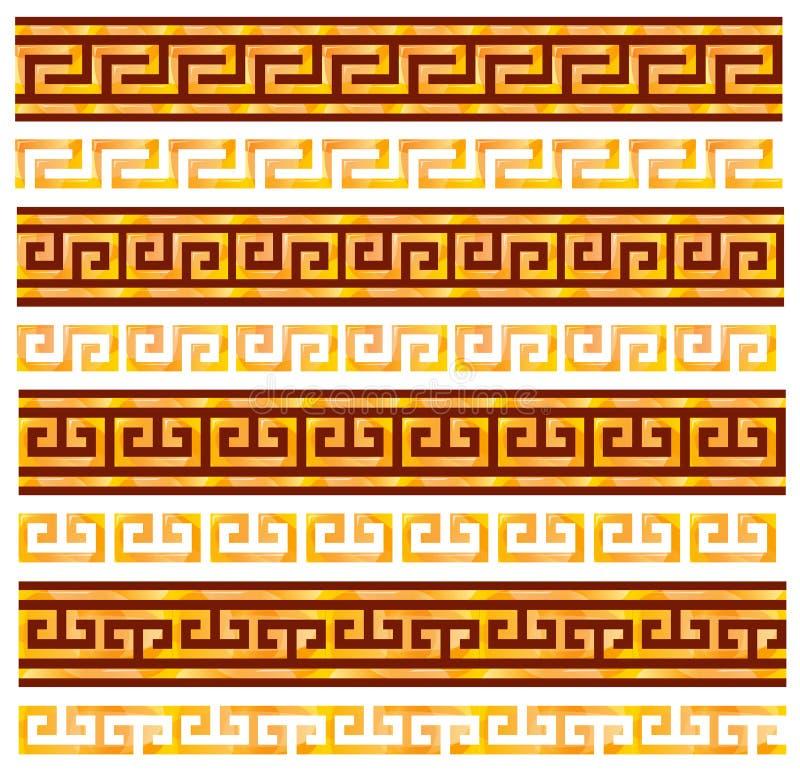 古老金黄希腊蜿蜒地流无缝的装饰品 库存例证