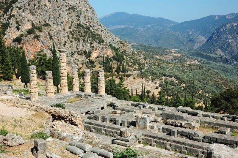 古老阿波罗特尔斐希腊希腊寺庙 免版税库存照片