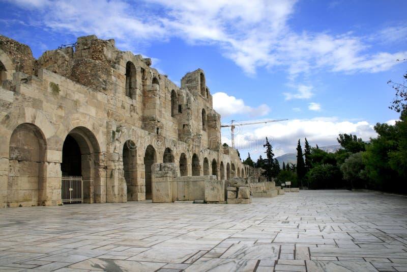 古老雅典希腊剧院 库存图片