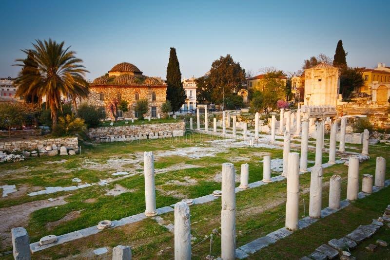 古老雅典的废墟。 免版税图库摄影