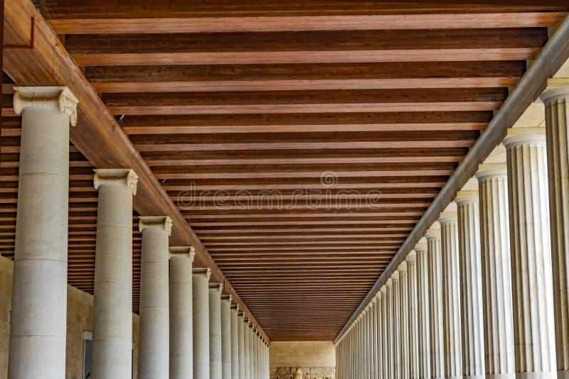 古老集市Stoa Attalos市场雅典希腊 库存图片