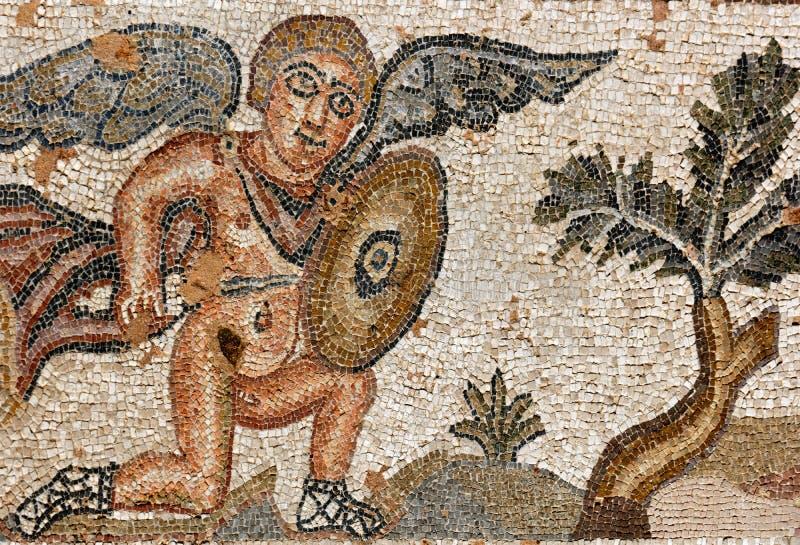 古老马赛克在帕福斯,塞浦路斯 图库摄影