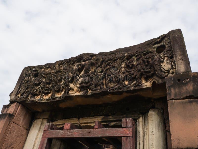 古老高棉艺术沙子石雕刻的Phimai历史公园 Pra 免版税库存照片