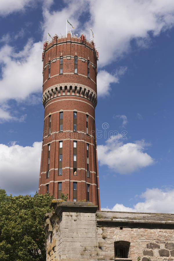 古老水塔在卡尔马在瑞典 免版税库存图片