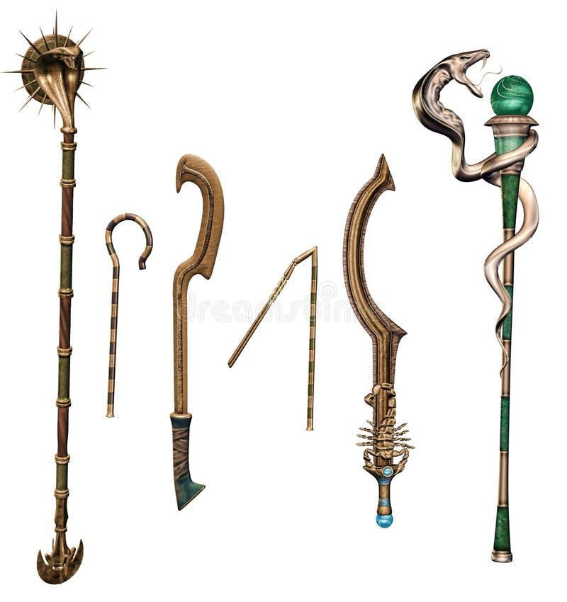 古老幻想武器和职员 皇族释放例证