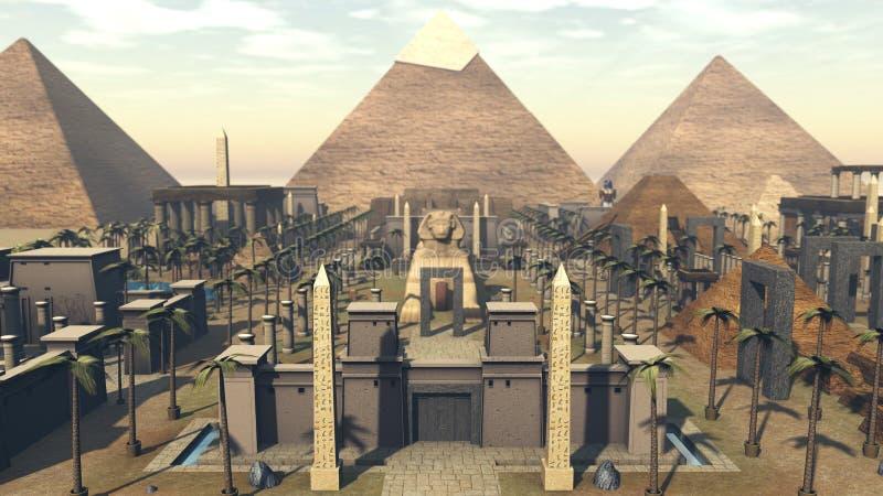 古老建筑学在市埃及 3d翻译 皇族释放例证
