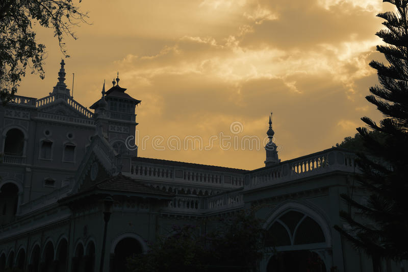 古老agha可汗宫殿剪影 库存图片