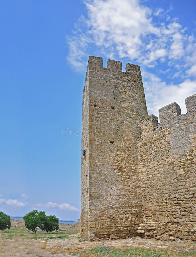 古老Akkerman堡垒,别尔哥罗德州德诺尔,傲德萨地区的巨大的石墙 免版税库存照片