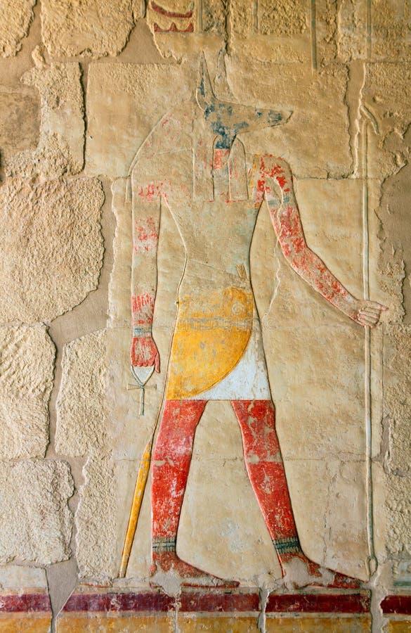 古老anubis颜色埃及图象 免版税库存照片