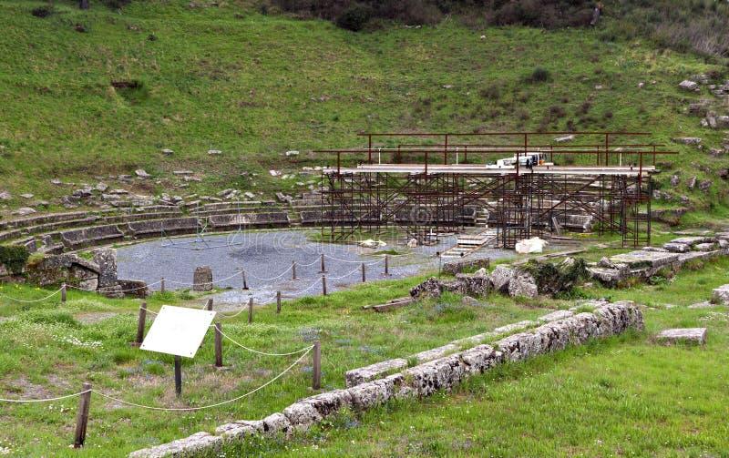 古老arkadia希腊特大的城市 免版税库存照片
