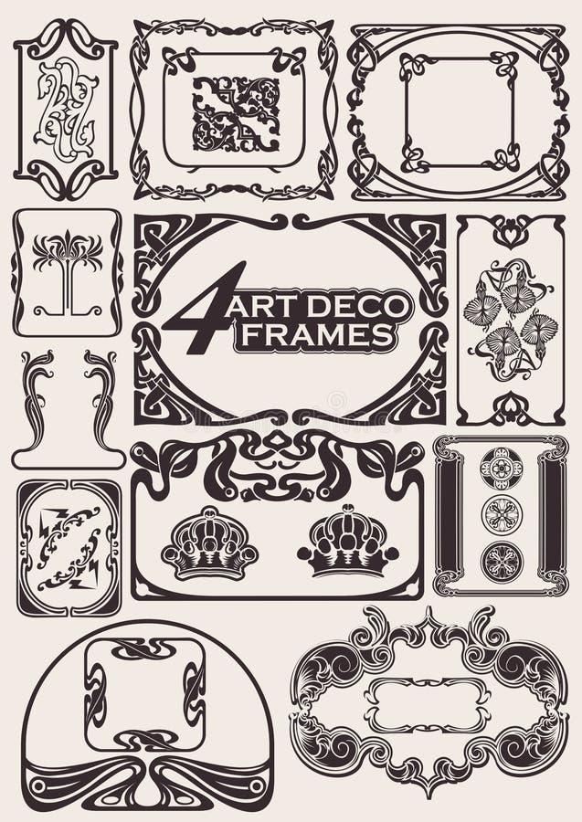 古老artdeco框架被设置的样式 皇族释放例证