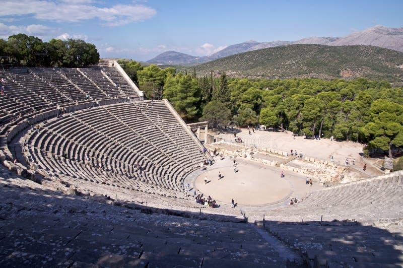 古老asklepios圣所剧院 免版税库存图片