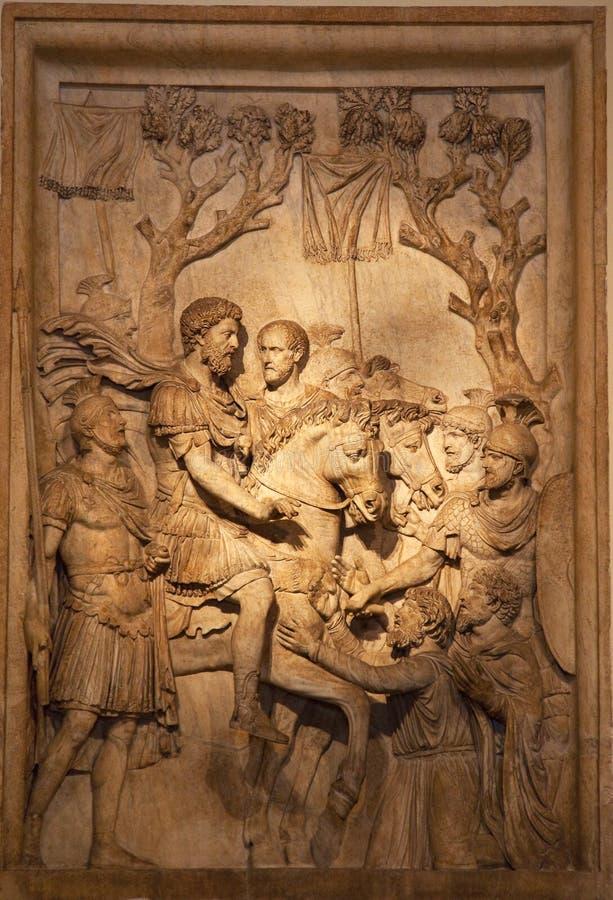 古老aurelius意大利马库斯罗马罗马雕塑 库存图片