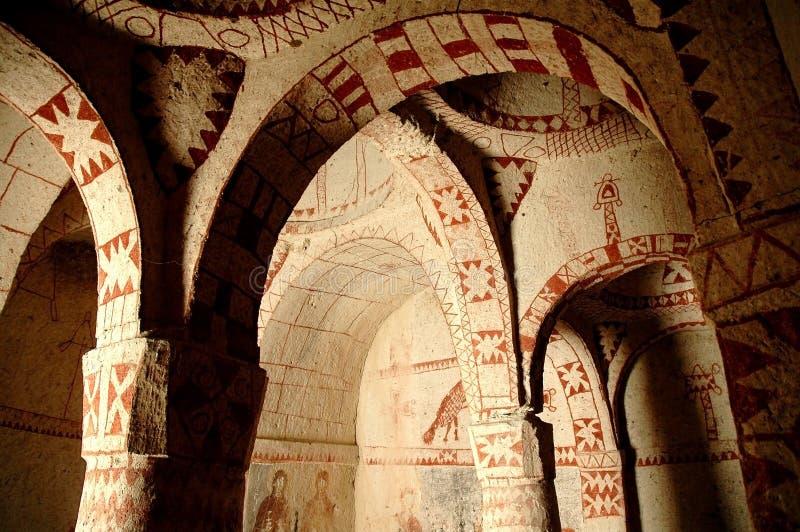 古老cappadocia教会壁画 库存图片