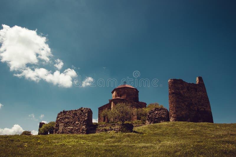 古老Jvari修道院,姆茨赫塔 冒险假日 旅行向乔治亚 格鲁吉亚建筑学 r r 库存照片