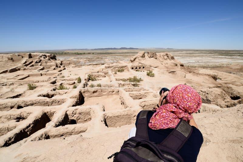 古老Khorezm –托普拉克-卡拉堡垒  库存照片