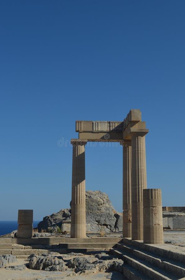 古老Lindos希腊废墟  免版税库存图片