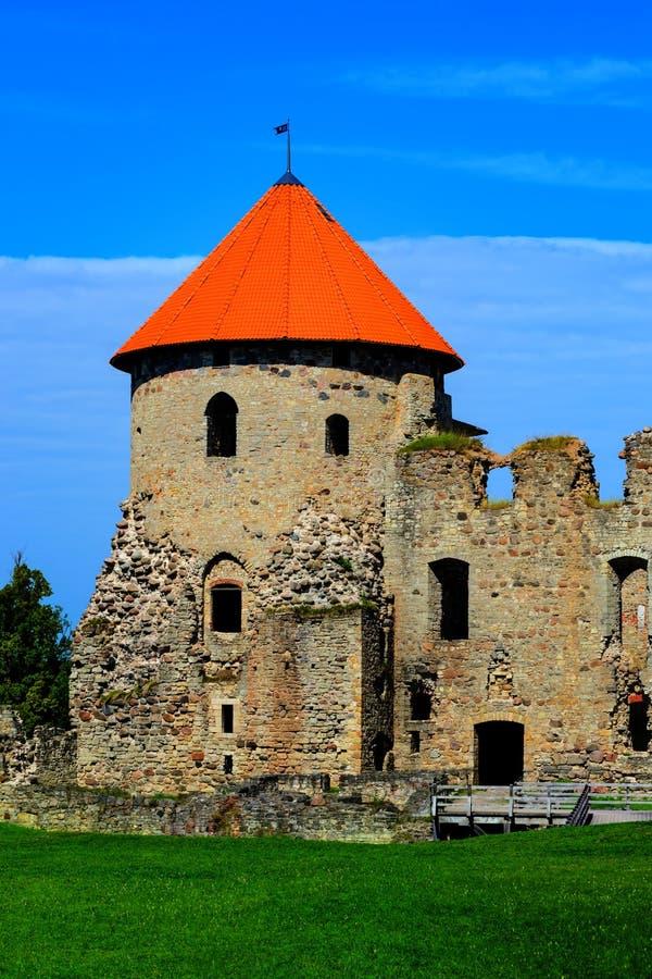 古老Livonian城堡废墟看法在Cesis,拉脱维亚老镇在好日子,选择聚焦 库存照片
