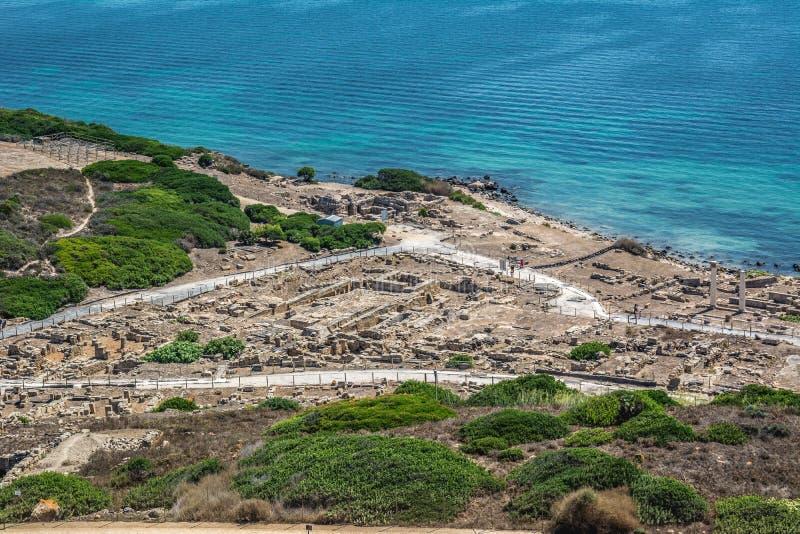 古老Tharros市废墟在撒丁岛 图库摄影