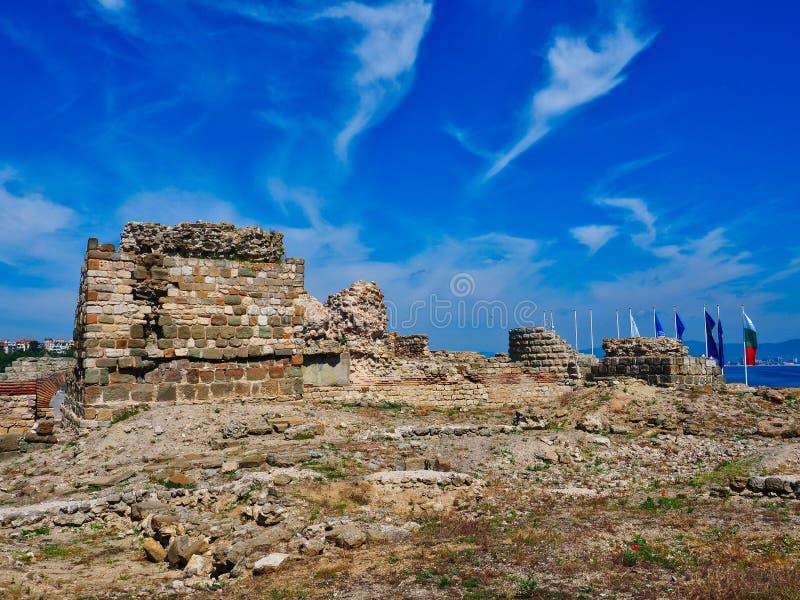 古老Thracian石废墟,Nessebar,保加利亚 免版税库存图片