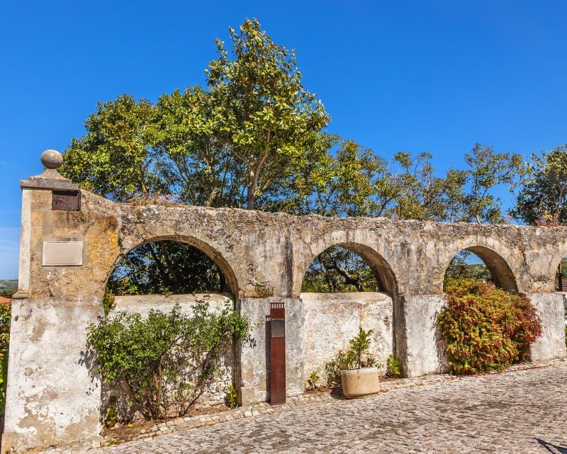 古老Usseira渡槽Obidos葡萄牙 免版税库存照片