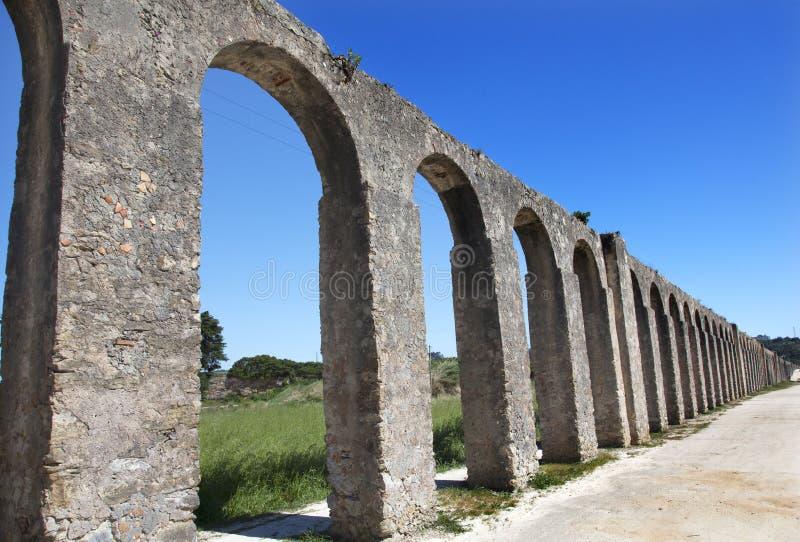 古老Usseira渡槽Obidos葡萄牙 免版税库存图片