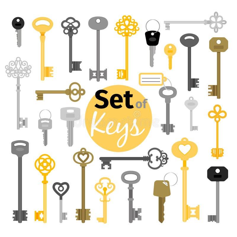 古色古香和现代钥匙 皇族释放例证