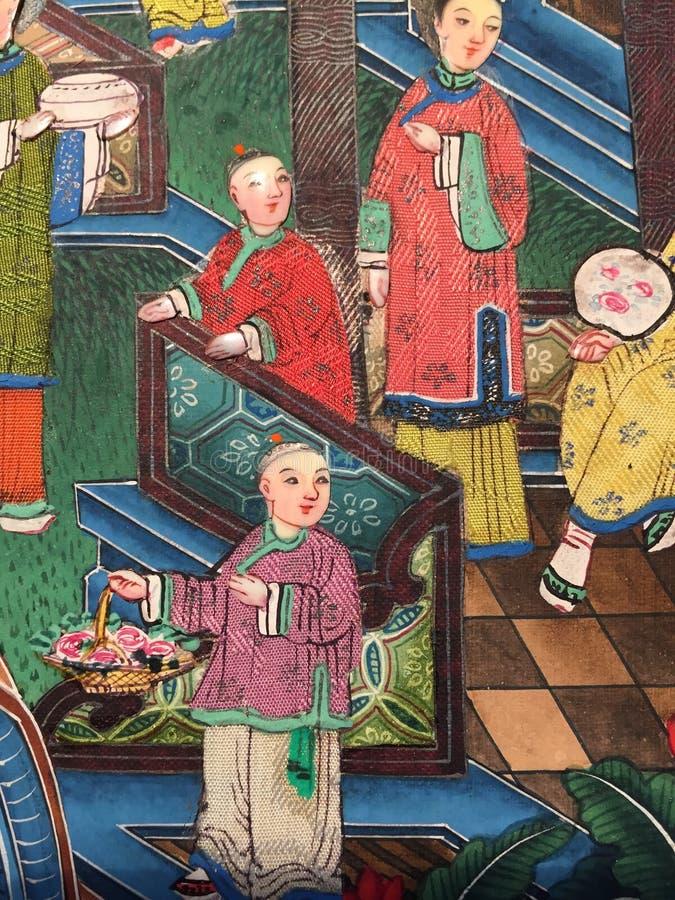 古色古香的中国丝绸图画 免版税库存图片