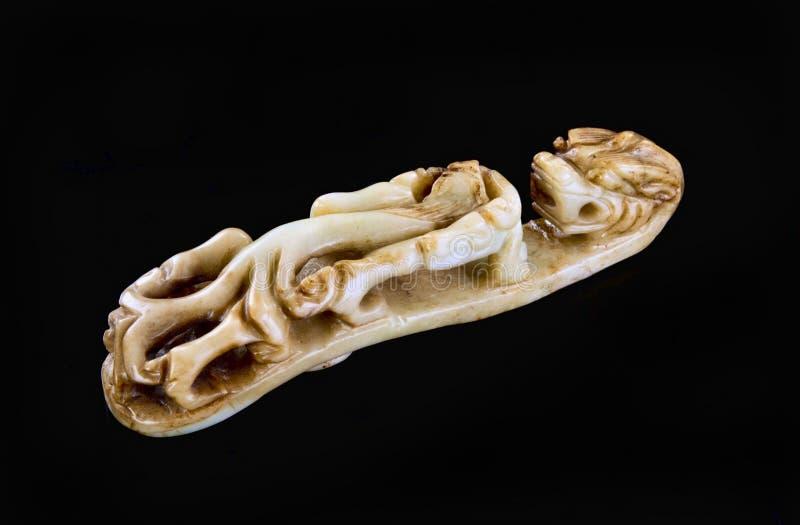 古色古香的中国玉chilong龙beltbuckle 免版税图库摄影