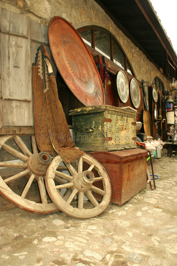 古色古香的义卖市场街道 库存照片
