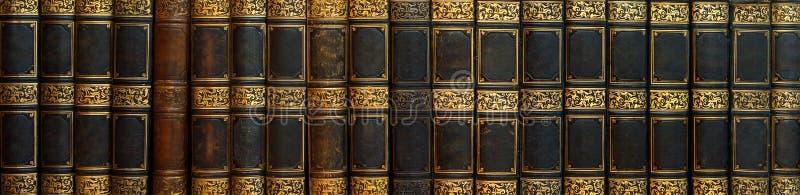 古色古香的书全景在架子的 库存照片