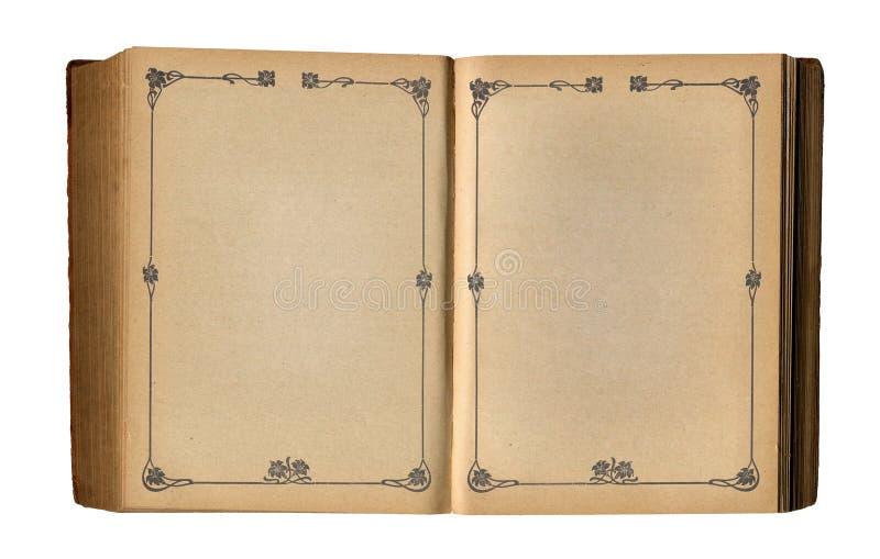 古色古香的书空的花卉框架开放页 图库摄影