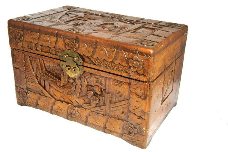 古色古香的亚洲手被隔绝的被雕刻的箱子 免版税库存图片