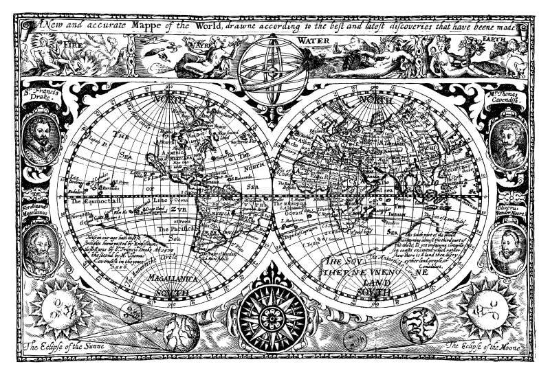 古色古香的例证映射向量世界