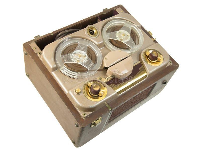 古色古香的便携式的开盘式的管磁带记录器 库存图片