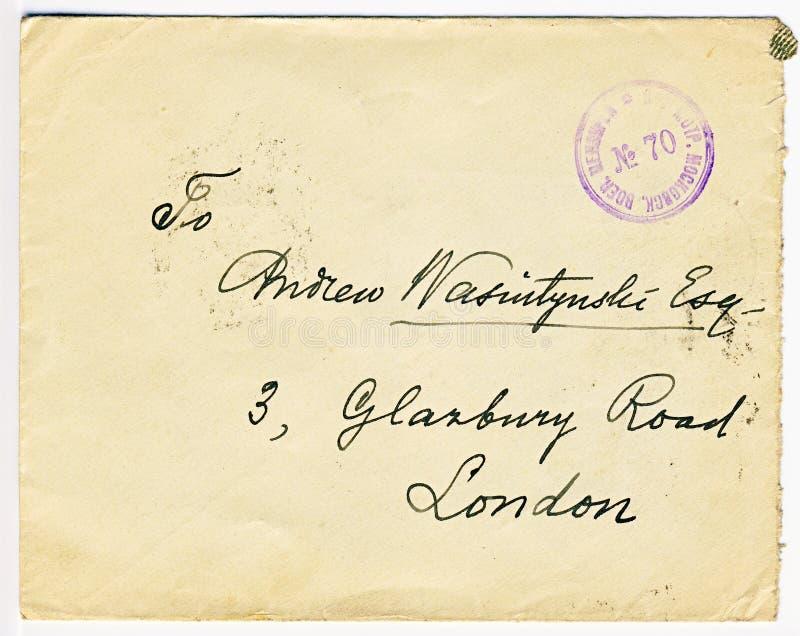 古色古香的俄语检察了与伦敦地址的信件 免版税库存照片