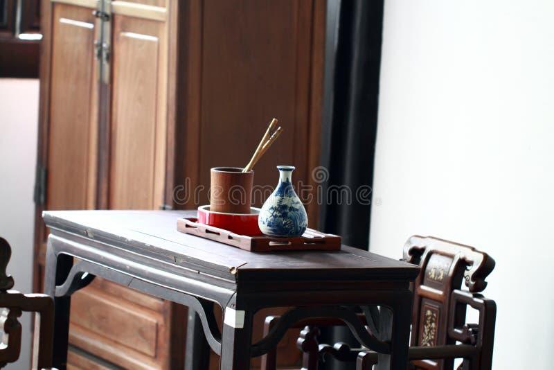 古色古香的办公家具,古老书桌 免版税图库摄影