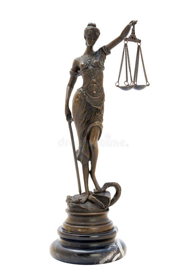 古色古香的古铜色女神小雕象themis 库存照片