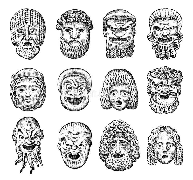 古色古香的可怕面具 古希腊戏剧性抽象面孔 日本邪魔、老男人和年轻女人 例证百合红色样式葡萄酒 皇族释放例证