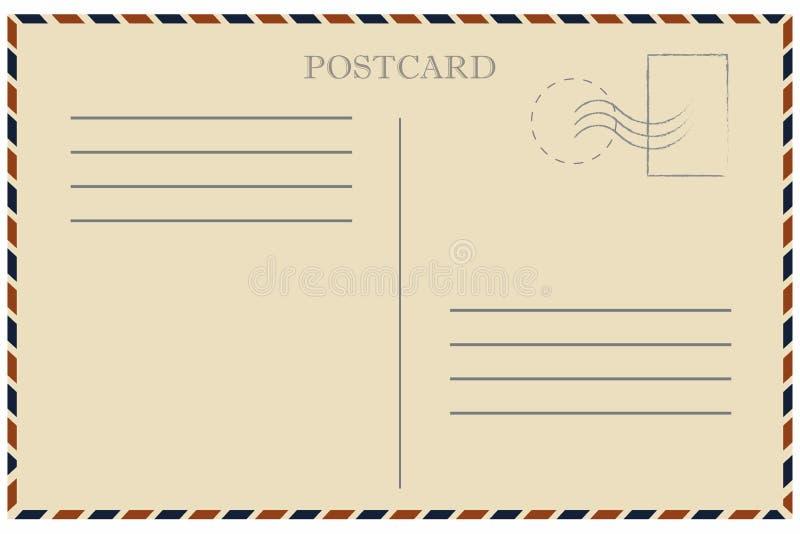 古色古香的可收帐的邮件对象明信片相关葡萄酒 老模板 与邮票的减速火箭的航寄信封 向量例证